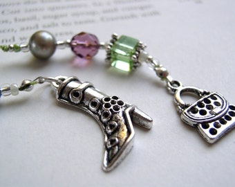 Fashion Chic Bookmark - Beaded Book Thong in Amethyst Purple and Peridot Green Glass with Silver and Pearl and Handbag and Boot Charms