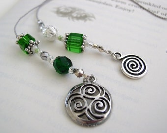 Classy Celtic Bookmark - Elegant Beaded Book Thong in Emerald Green Glass with Silver, Pearl, and Pewter Charms