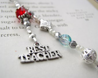 TEACHER GIFT Jeweled Beaded Bookmark - Book Thong with Pewter Best Teacher Appreciation Charm