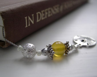 NOVEMBER Silver and Citrine Beaded Bookmark Book Thong- Personalized Birthstone