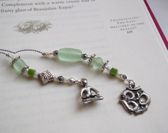YOGA Om Bookmark Beaded Book Thong in Pale Green Peridot Matte Glass with Pewter Charms