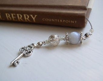 Personalized Gift - Monogram Beaded Bookmark - Book Thong with Initial V in Creamy Pale Blue with Silver and Pearl Accents and Key Charm