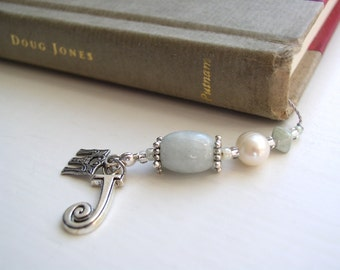 MARCH Beaded Bookmark - Birthstone Book Thong with Aqua Pale Blue Jade and Silver with your Choice of Personalized Charms