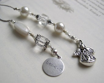 Angel Watching Over You Bookmark - Beaded Book Thong in White Pearl and Silver with Believe Charm