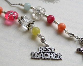 TEACHER GIFT Beaded Jeweled Bookmark in Bright Pink, Coral, Yellow Jade and Robins Egg Blue Stones - Book Thong with Teacher and Star Charm