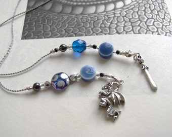 Blue Stone Dragon and Sword Bookmark - Jeweled Beaded Book Thong  in Rich Sapphire Dark Blue, Black, and Silver