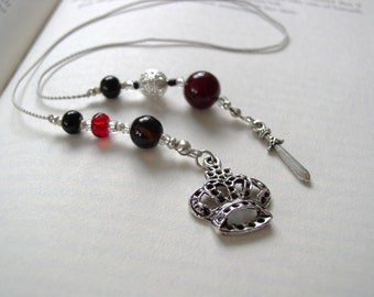 Vampire-Inspired Bookmark  - Jeweled Beaded Book Thong  in Blood Red, Black, and Silver with Crown and Dagger Charms