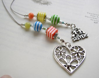 Special SISTER Bookmark - Beaded Book Thong in Lime Green, Coral Orange, Yellow, and Denim Blue Stripes with Pewter Sister and Heart Charms