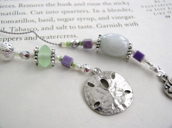 Dreaming of the Beach Bookmark with Sand Dollar and Fun Fish Charms - Purple and Lime Green Beaded Book Thong