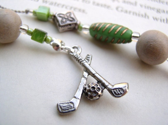 Golf Lover's Bookmark - Personalized Beaded Book Thong with Golf Clubs and Lime Green and Wood Beads