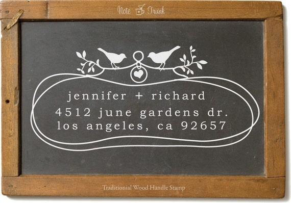 Custom Wood Handle Address Stamp Organic Loops Two Birds In Love -1029
