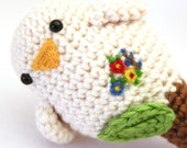 White Birdy Rattle with pretty pretty flowers