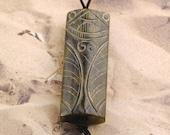 Serpentine Pendant - Stone Pendant - Cicada Pendant - Carved Stone Pendant - Insect Pendant