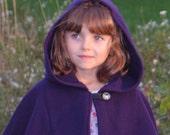 Kids Cape - Purple Cape - Cape with Hood - Hooded Kids Cape