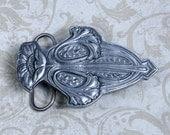 Art Nouveau Belt Buckle - Art Nouveau Buckle - Pewter Belt Buckle - Silver Belt Buckle
