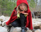 Red Riding Hood Cape - Little Red Riding Hood Costume - Kids Cape - Cape with Hood - Hooded Kids Cape
