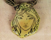 Nymph Necklace - Nymph Pendant - Green Necklace - Green Ribbon Necklace - Green Stone Necklace