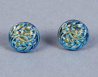 Dichroic Glass Earrings - Blue Leaf and Vine Earrings - Blue Glass Earrings - Blue Earrings - Glass Earrings - Post Earrings