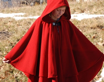 Double Cape - Wool Cape - Red Cape - Cape With Hood - Hooded Cape
