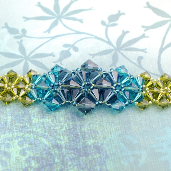 Beadwoven Bracelet - Swarovski Bracelet - Crystal Bracelet - Blue and Green Bracelet - Star Fruit Bracelet
