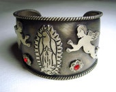 Mexican Silver Cuff Bracelet with Virgin de Guadalupe and Cherub Icons