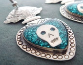 Iconic Mexican Silver Sacred Flaming Heart Earrings with Skulls, Blue Glitter, and Resin - Corazon Sagrado