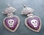 Iconic Mexican Silver Sacred Flaming Heart Earrings with Skulls, Purple Glitter, and Resin - Corazon Sagrado