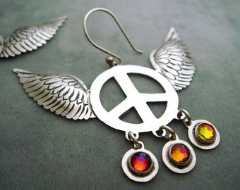 Mexican Silver Winged Peace Sign Earrings with Multicolored Volcano Swarovski Crystals