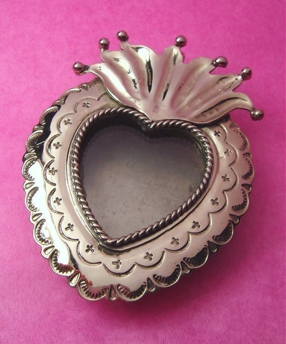 Mexican SACRED HEART Silver LOCKET Pendant
