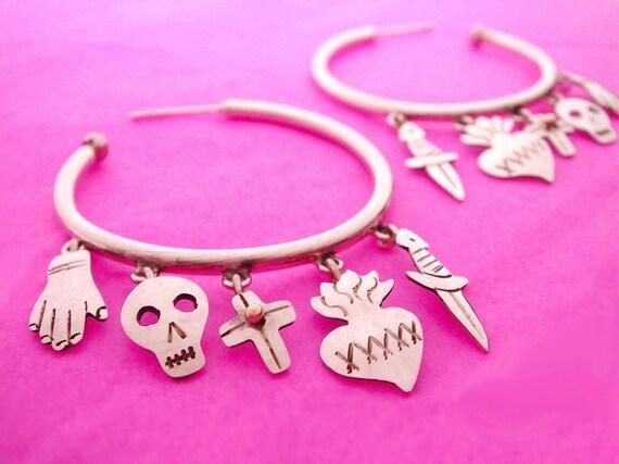 Silver Mexican Five Milagro Ex-voto Icon Charm Hoop Earrings - Hand, Sacred Heart, Skull, Cross, Dagger