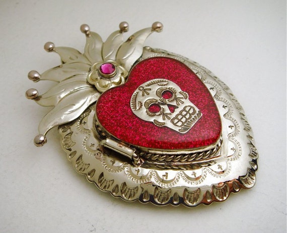 Silver Mexican Sacred Heart Locket Pendant with Sugar Skull Milagro, Pink Glitter, Resin, and Swarovski Crystal - Day of the Dead