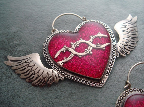 Mexican Silver Winged Sacred Heart Earrings with Fuchsia Pink Glitter and Resin