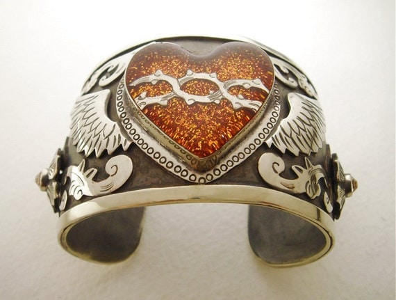 Antiqued Silver Cuff Bracelet with Copper Glitter Winged Sacred Heart and Swarovski Crystals