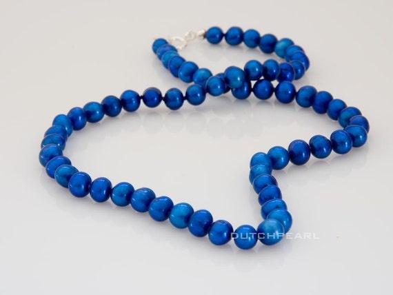 Handknotted real pearls - genuine 5.5 mm deep cornflower blue pearls - necklace - indigo pearl - cobalt deep blue - jewelry