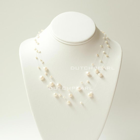 Set of 6 necklaces floating on air genuine ivory pearls for Bridesmaid jewelry sets under 20