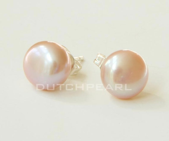Genuine pink blush pearl earrings studs in beautiful gift wrapping - real pearls - sterling silver - budget - wedding jewelry - handmade  - bridesmaids - traditional - custom - gift under 15 dollars - boudoir
