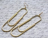 Huge Gold Rock and Roll Metal Paper Clip Earrings 4 inches or 101 mm (Hypo-allergenic Surgical Sensitive) sale clearance
