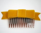 Mustard Yellow Velvet Ribbon Bow Hair Comb (Special Occasion, Party, Gift, front page etsy)