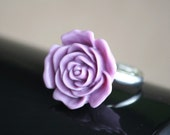 Large Lavender Rose Flower Cabochon Adjustable Cocktail Silver Ring (SALE, CLEARANCE)