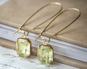 Jonquil Yellow Gem Octagon Drop Earrings on Gold Kidney Brass Wires (12 x 10mm) sale clearance