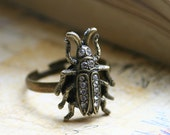 Antiqued Brass Beetle on an Adjustable Cocktail Ring