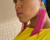 Long Statement Fringe Earrings in Hot Pink with Hypo-allergenic Hooks (Tassel, Shoulder Duster) Sale Clearance