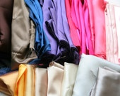 Wholesale lot of Scrap Satin Fabric (Pink, Purple, Black, Navy, Cream Brown, Ivory, Red, Amethyst, Mustard, Yellow and more)