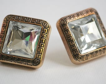 Vintage Gold Trim Huge Rhinestone Square Diamond Earrings (Post, Studs) 3/4 inch