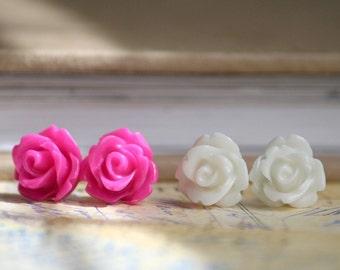 Set of 2 Hot Pink & Ivory Cream Rose Flower Cabochon Earrings 10 mm  (Posts, Studs, Rosebud, Fuschia))