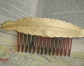 Bright Golden Bird Feather on Hair Comb (Nature, Bridal, Wing, Boho, Hippie)