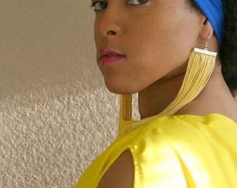 Fringe Earrings in YELLOW, RED or BLUE (Tassel, Shoulder Duster)