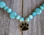 """Handcrafted Turquoise Dog Necklace with paw print charm """"Spirit Canyon"""""""