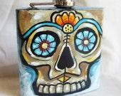 Hand painted flask - Featuring a Dia de los Muertos Sugar Skull