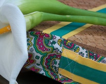 Eco Friendly Lap tray, sofa desk pillow, yellow, pink and green paisley, Cork and Cotton, colorful mother's day gift